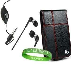 Manhattan Premium Leather Flip Case, Red Stitching with Belt Clip