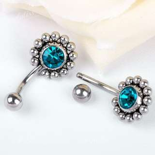 14g Stainless Steel Blue Crystal Sun Belly Navel Ring