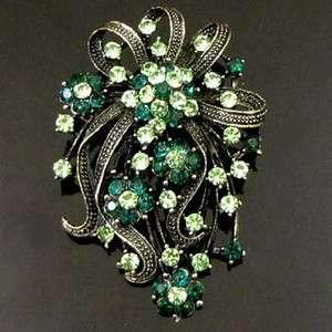 1pc Rhinestone crystals flower bouquet brooch pin