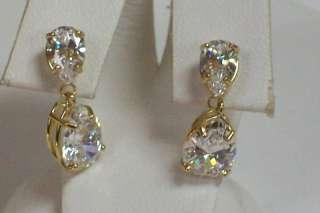 14K Yellow Gold Pear Shape Cubic Zirconia Dangle Stud Earrings