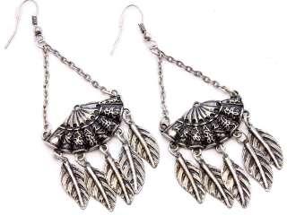 SOUTHWEST Burnished Silver Tone FAN Dangle Cowgirl Earrings