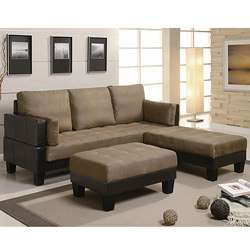 Contemporary Sofa Bed Group with 2 Ottomans  Overstock