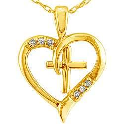 10k Yellow Gold Diamond Cross Heart Necklace