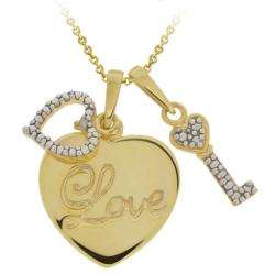 Gold over Silver Diamond Heart Love and Key Necklace