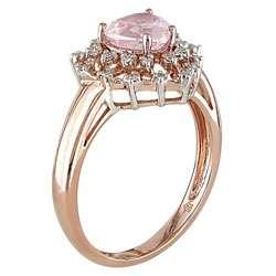 14k Pink Gold 1/10ct TDW Diamond Rose Quartz Ring