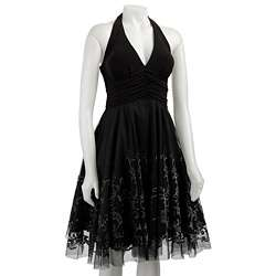 Onyx Nite Womens Black Beaded Tulle Halter Dress