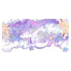 Sun, Moon, Stars Purple Die Cut Wallpaper Border by 4Walls