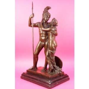 Classic Greek Warrior Couple Bronze Marble Sculpture Statue Figurine