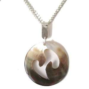 Black Cat Jewellery Store Large Shell Pendant On Silver Chain Jewelry