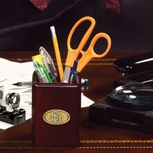 MLB San Diego Padres Walnut Pencil Holder for Office Desk