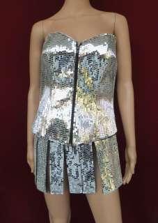 Robot Showgirl Roman Holloween Armor Lady Gaga Mirror Corset and Skirt