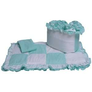 Baby Doll Bedding Gingham Cradle Bedding Set, Mint Baby