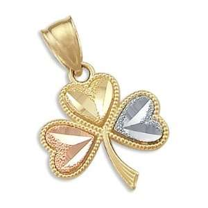 14k Yellow White Rose Gold 3 Leaf Clover Charm Pendant Jewelry