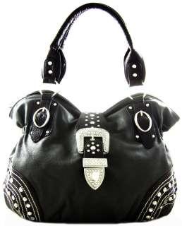 Western Cowgirl Rhinestone Belt Buckle Fx Leather Oversized Hobo Purse