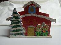 Vintage 60s Wooden Angels Glitter Christmas Card Mail Box Holder Japan