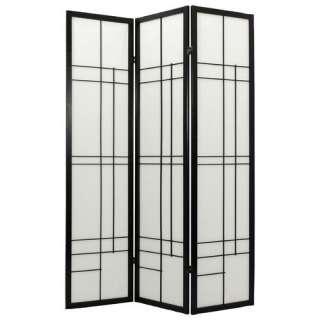 Oriental Furniture 72 Eudes Decorative Paned Room Divider in Black