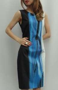 BN ELIE TAHARI Blue BLK WT Print Cocktail Dress   UK14 US10