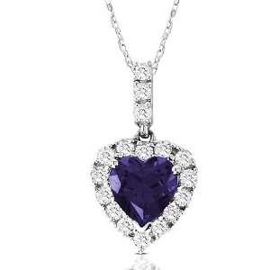10k White Gold Heart Shaped Created Ceylon Sapphire and Round Created