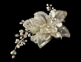 Pearl Rhinestone Floral Bridal Tiara Hair Comb Pin clip 8151sv