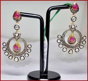 53c ROSE/ANTIQUE CUT DIAMOND RUBY 14k GOLD VICTORIAN DANGLE/EARRING