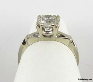 05CT European Cut Diamond ENGAGEMENT RING   14k Solid White GOLD