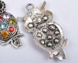 Free Ship Tibetan Silver Owl Charm Pendant Inlay Crystal Y03