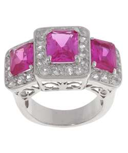 Sterling Silver Pink and White Created Sapphire Ring
