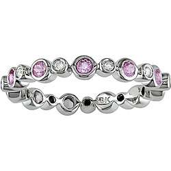 14k Gold 1/4ct TDW Diamond and Pink Sapphire Eternity Band