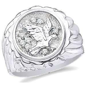 Pave Set Round Cut Mens Diamond Wedding Ring Band (1/10 cttw) Jewelry