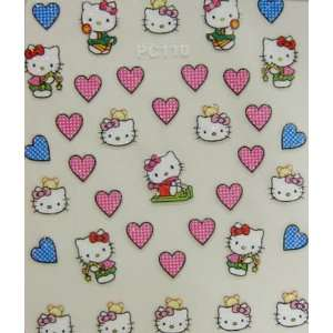 XH 2012 latest 3D hello kitty nail sticker with hearts