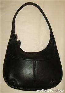 COACH ERGO Bag Black Leather Large Hobo Shoulder Purse Zip Top Bucket