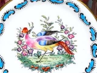 CHELSEA BIRDS TURQUOISE HAND PAINTED ENAMEL TEA CUP AND SAUCER