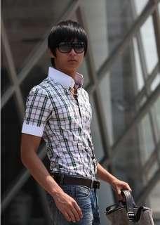Mens Slim fit Dress Short Sleeve Plaid Shirts h72 M XL