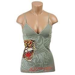 Ed Hardy Womens Light Green/ Tiger Thermal Camisole