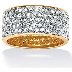 10k Gold over Silver Diamond Accent Pave Eternity Ring