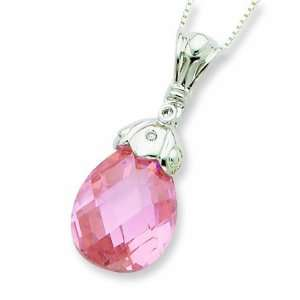 Sterling Silver Pink And Clear Cz Tear Drop Necklace Jewelry