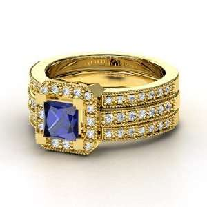 Va Voom Ring, Princess Sapphire 14K Yellow Gold Ring with Diamond