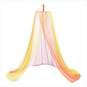 GIRLS BABY RAINBOW BED CRIB CANOPY MOSQUITO TULLE NET