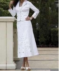 ladies Womens dress white denium jean suit skirt set outfit plus size