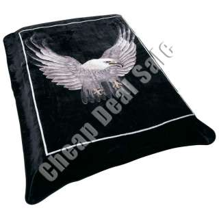 Blanket Bed Spread Black Super Soft Plush Fleece Eagle King Queen 79