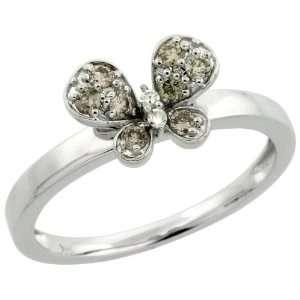 14k White Gold Butterfly Diamond Ring, w/ 0.22 Carat Brilliant Cut