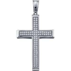 10 Karat White Gold Diamond Cross Shaped Pendant With 0.25