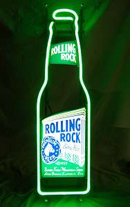 32 Green Rolling Rock Beer Bottle Bar Neon Light Everbright