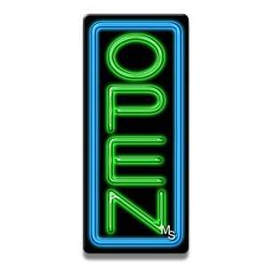 Vertical Neon Open Sign   Blue Border & Green Letters Office Products