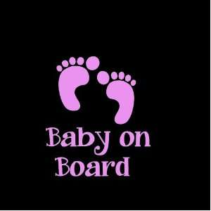 Baby on Board Feet Car Window Decal Sticker Girl Pink 5