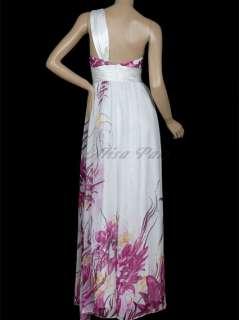 Women Purple Flower Printed One Shoulder Long Bridesmaid Gowns 09263