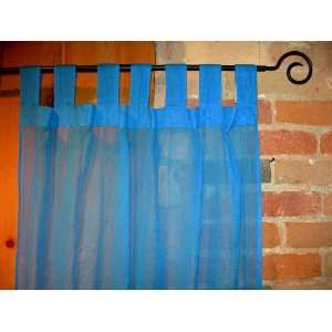 Azure Blue Sheer 100% Cotton Gauze Tab Curtain, 44 inches X 104 inches