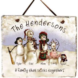 Personalized Snowmen Stick Family Slate Personalized Gifts