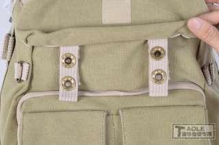 Khaki Canvas DSLR SLR Camera Bag Laptop Backpack Rucksack Bag For