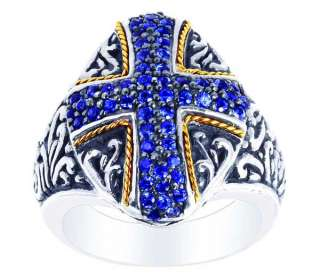 18K Gold & Silver Sapphire Cross Knights Templar Ring 2